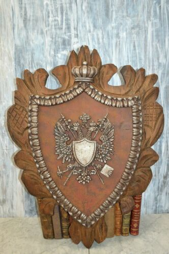 Antique Crest Large Carved Wood Heraldic Double Eagle Shield Swords Crown