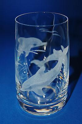 Schönes Trinkglas mit Delfinen Delfin Echt Handgeschliffen