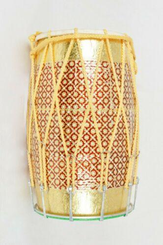Mango Wood MeenaKari Work Folk Musical Instrument Punjabi Bhangra Dhol With Bag