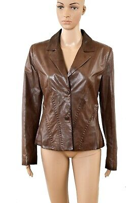 Ermanno Scervino Vintage 90s Leather Brown Blazer Jacket I42 UK10-12 Piel Pelle