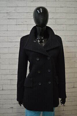 TRUSSARDI Cappotto Blu Donna in CASHMERE Taglia 42 Slim Trench Lana Jacket Women
