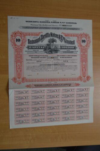 Egypt -Sednaoui Zarifaa Nahas&Co Ltd Certificates 10 Deferred shares Specimen
