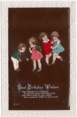 BEST BIRTHDAY WISHES - Four Little Children - #2014/2 - c1920s era postcard