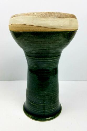 "Scott Carlson 2001 Ceramic Drum Darbuka Doumbek Dumbek Goat Skin Head 9"" Tall"