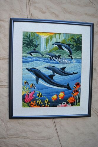 Large LONG STITCH dolphins fish seascape shore matted framed needlepoint 19x23