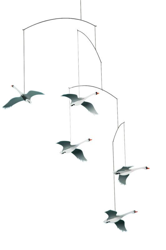Flensted Scandinavian Swan Birds Modern Hanging Baby Mobile Nursery Decor Danish