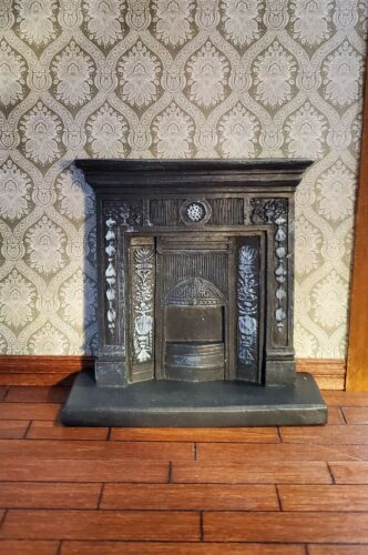 Dollhouse Miniature Victorian Small Bedroom Fireplace Resin Cast Iron Look 1:12