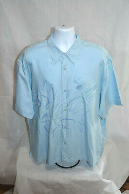 The Havanera Co Men's Short Sleeve Embroidered Button Up Shirt Size 2X Blue
