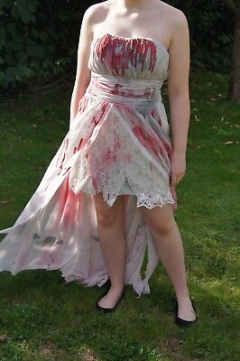 Unique decorated Halloween vampire zombie prom bride costume dress size 16 - Unique Costumes Halloween