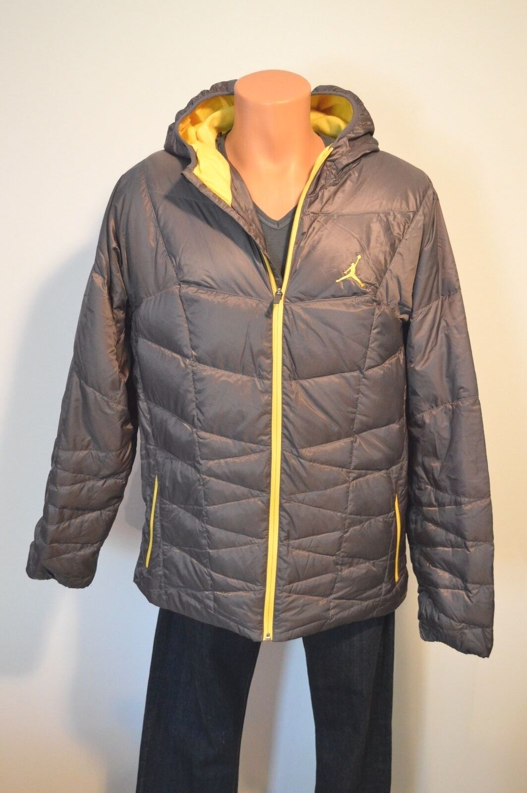 8bc2adade Michael Jordan New $225 Nike Air Jordan Hyperply Players Jacket Puffer  Grey/Yellow Coat XL