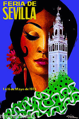 1973 Feria de Sevilla Fair of Seville Spain Vintage Travel Advertisement Poster