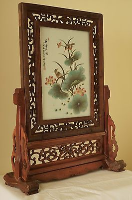 Chinese Table Screen. Carved Hardwood. Painted Porcelain. Antique. Can Deliver
