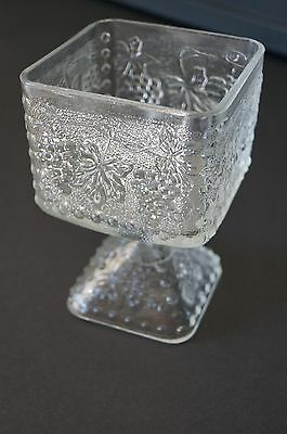 VINTAGE Clear Glass Frosted Texture Dish on Pedestal w/Grapes Indiana Harvest ?
