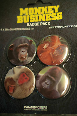 Monkey Business- 4 x Button Badges  - Fun Badges
