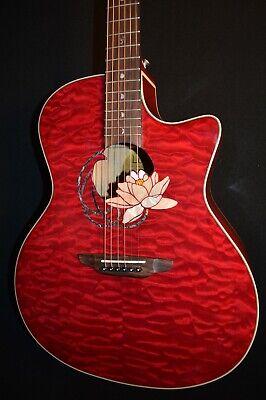 Luna Flora Lotus Quilt Maple Trans Shiraz Acoustic Electric Guitar - Free Ship