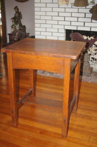Arts & Crafts Signed Limbert Student Desk Oak Pull Out Drawer Original Antique
