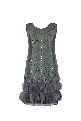 1920's Vintage Style Fringed Flapper Dress Gatsby Art Deco Womens Costume Gray - Flapper Style Costumes