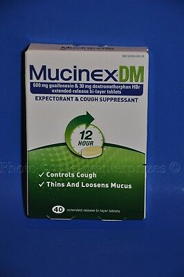 Mucinex Dm  40 Tablets  600 Mg Expectorant 12 Hr Cough Suppressant Exp  2018