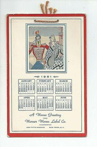 VINTAGE WARNER WOVEN LABEL CO~NEW YORK~1951 ADVERTISING CALENDAR