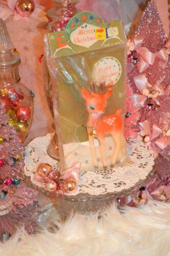 VINTAGE PINK PLASTIC REINDEER, antique Christmas deer in original packaging NOS