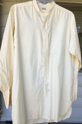 Vintage Antique 20s 30s Arrow Broadcloth Button Collar French Cuff Shirt White
