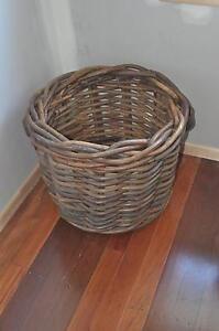 Large woven basket with leather handles, great for firewood toys Everton Park Brisbane North West Preview