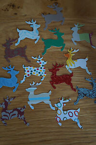 50 Medium Christmas Reindeer Stag Cut Outs Various Colours/Patterns. Paper Card