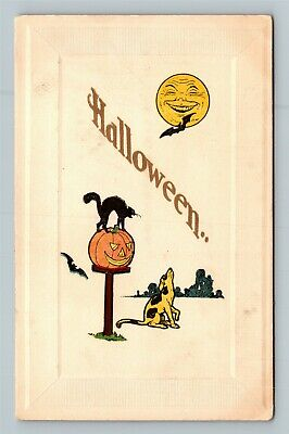 HALLOWEEN Vintage Gibson Art Postcard Man in Moon Face JOL Howling Dog Black Cat