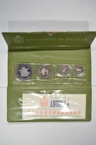 1967 Government of Anguilla 4 Coin Silver Proof Set 50c $1 $2 $4 Rare!