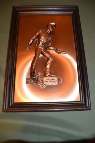 Vintage Copperama 3-D Copper Art Relief Police To Protect & Serve