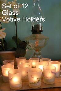 Candle Holders - Glass - Votive / Tea Light - Frosted Set of 12 - Splash - CG17