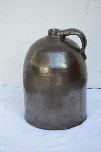 Antique 3 Gallon Salted Glaze Brown Stoneware Jug Handle Whiskey Crock Redware