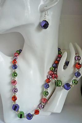 3-tlg. Schmuckset: Kette Collier, Armband + Ohrringe metallic bunt NEU + TOP