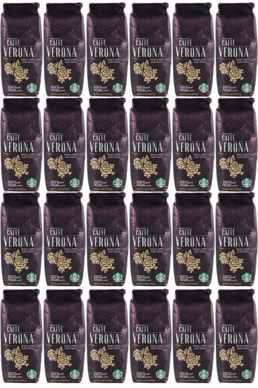 24 Pack Starbucks Caffe Verona Dark Roast Whole Bean Coffee 1LB Each BBD 8/20