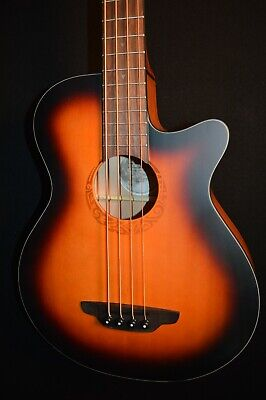 Luna Lab Tribal 34 Tobacco Burst Acoustic Electric Bass Guitar - Free Shipping!