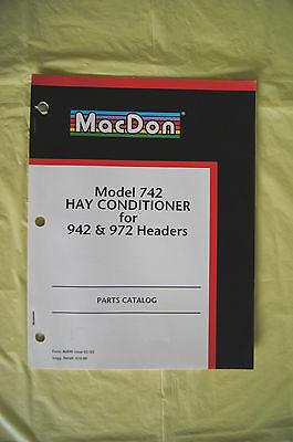 Macdon Model 742 Hay Conditioner 942 972 Headers Parts Catalog Manual 2002 Guc
