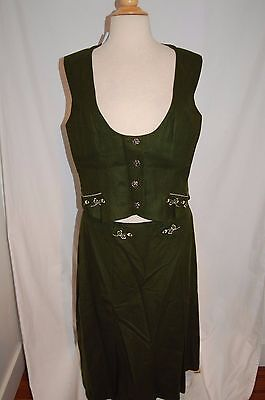 Vtg GREEN WOOL OCTOBERFEST german LODEN 2-PIECE OUTFIT SKIRT COSTUME SZ LARGE - October Fest Outfit