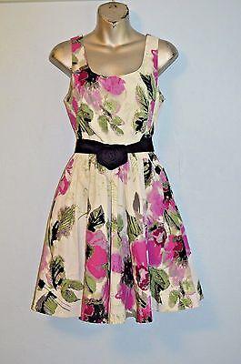 ELLE 97% COTTON FLORAL PRINT SUN DRESS POCKETS 4 COCKTAIL SLEEVELESS Floral Print Cotton Sundress