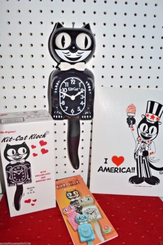 AUTHENTIC BLACK GENTLEMAN Kit Cat Clock,MOVING EYES & TAIL, BOW TIE, Made USA