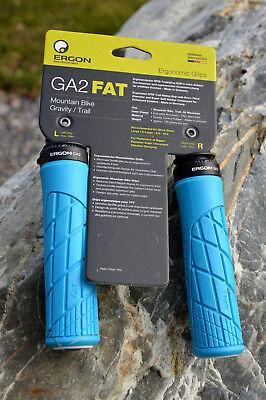 ERGON GA2 FAT MTB Trail Lenker Griffe für große Hände Endplug austauschbar blau (Fat Bar Griffe)
