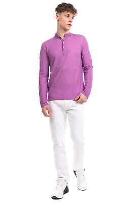 MASSIMO ALBA Henley Top Size M Garment Dye Worn Look Long Sleeve Made In Italy
