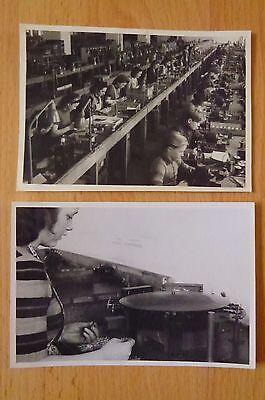2 x Foto Siemens & Halske Arbeit Arbeiter Relaismontage Arbeitslampe Speyer 1949