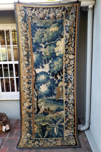 A Good 18th Century Verdure Tapestry with Bird