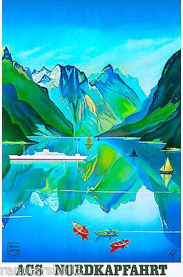 Norway Nordkapkahrt Oceanliner European Scandinavia Travel Advertisement Poster
