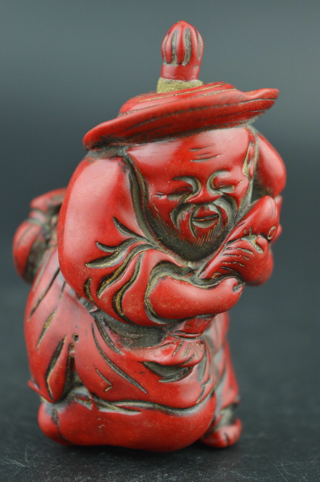 Decorated Wonderful Coral Carving Happiness Old Immortal Rare Lucky Snuff Bottle