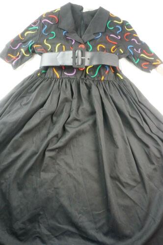 Vintage 1980s Leslie Lucks Womens 14 Black Belted A-Line Dress NWT A808