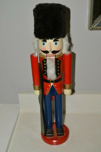 "Nice Handmade Huge Christmas Wooden Nutcracker Soldier w/ Rifle Gun MINTY 21"""