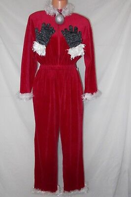 Ugly Christmas Sweater MRS CLAUS Naughty GROPING HANDS front back Jumpsuit Sz M (Naughty Mrs Claus)