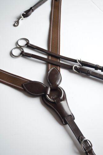 New ExionPro Royal Tack Elastic Brown Breastplate Horse Sz Running Martingale