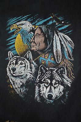 Wolle Flanell Jacke (Herren Vtg 90s Jahre West Azteken Indian Wölfe Eagle Wolle Flanell Jacke)